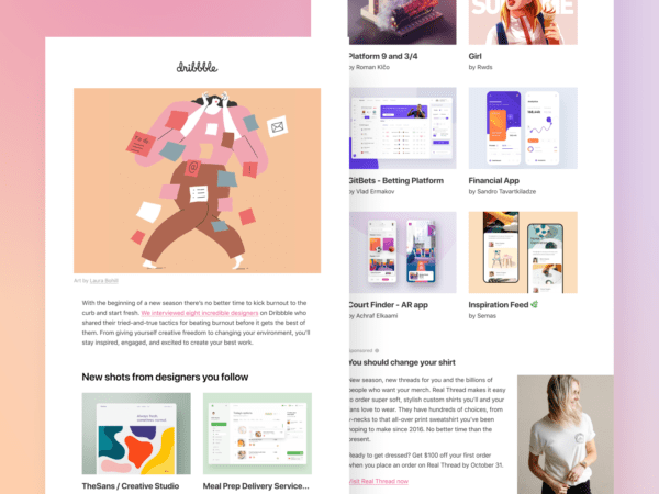 Fresh from Dribbble: New emails, who dis?